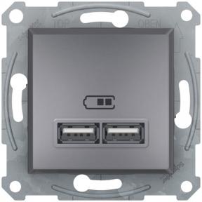 Schneider ASFORA USB розетка 2,1A сталь EPH2700262