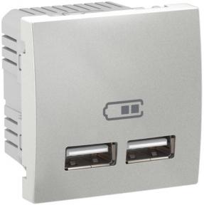 Schneider Unica USB розетка 2,1A алюм. Unica MGU3.418.30