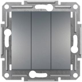 Schneider ASFORA Вимикач 3-х клавішний сталь EPH2100162